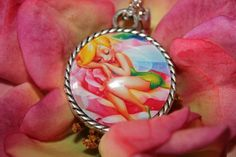 Tinkerbell, Disney inspired pendant, glass dome cobochon pendant with 24 necklace, handmade, bringt and lovely