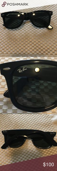 Authentic Ray-Ban Wayfarer Authentic Ray-Ban Wayfarer, I don't have the case but I can ship in a different case to protect them, I believe the style is Classic Wayfarer, frames are black, no scratches or marks from what I can see, good condition, feel free to ask any additional questions Ray-Ban Accessories Sunglasses