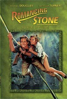 Romancing the Stone (1984) A prissy romance writer gets stranded in the jungle and is rescued by a guy who she hates, then loves.