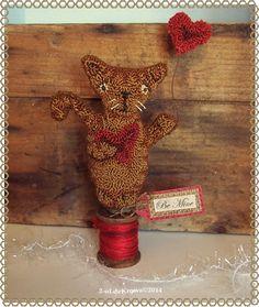 Be Mine Valentine Kitty Original Primitive Punch Needle Cat Hearts Spool | eBay