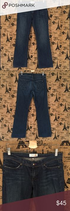 """Habitual Tatters Straight Legged Jeans Size 29 Brand: Habitual   Size: 29  Description: Style: tatters; straight legged, pretty flower like embellishment on front  Condition: Very Good  Fabric: 99% cotton, 1% spandex  Waist: 34""""  Hip: 38""""  Rise: 7.5""""  Inseam: 31""""  Item #1345  Bundle Discount Available!  Reasonable offers welcome!  No trades please..  Thanks for stopping by!!  #Poshmark #Poshmarkapp #Poshmarkcloset Habitual Jeans Straight Leg"""
