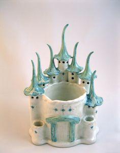 Handbuilt Ceramic Fairy Castle Planter hand built ceramic hand-built ceramic