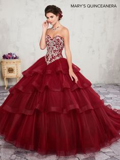 Ruffled Strapless Quinceanera Dress by Mary's Bridal 4Q2004