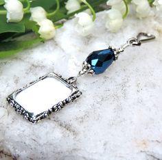 Something blue. Wedding bouquet memorial charm. Bridal bouquet photo charm with Dark Blue teardrop crystal. (8.99 USD) by SmilingBlueDog