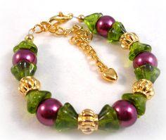 Little Girls Bracelet Purple and Green Baby Keepsake Jewelry.  via Etsy.