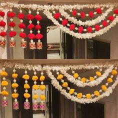 Mandir Decoration, Diwali Decoration Items, Ganpati Decoration At Home, Diwali Decorations At Home, Diwali Diy, Diwali Craft, Door Hanging Decorations, Flower Decorations, Diy Crafts For Gifts