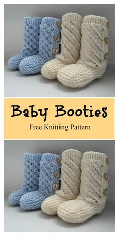 Baby Booties with Buttons Free Knitting Pattern #freeknittingpattern #boots
