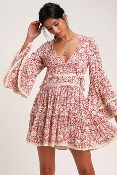 21b15cf35e4c Lulus | Kristall Berry Red Floral Print Bell Sleeve Mini Dress | Size Small