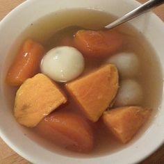 飯後甜點:芝麻湯圓+地瓜圓之黑糖薑汁地瓜湯 ↖(^ω^)↗