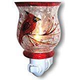 Red Cardinal Bird Night Light - Hand painted Glass Shade - Songbirds christmas deals week