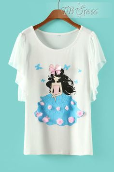 Sweet Euramerican Falbala Princess Flowers Print Short Sleeve T-shirt