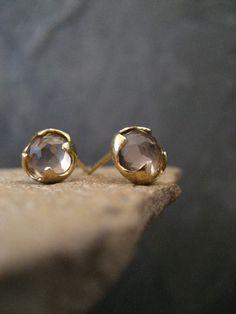 Smoky quartz studs, rose cut studs, round posts, cabochon earrings, gold post