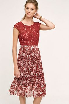 c83dbc6f8708 The lace top and printed skirt make this dress amazing! Pleated Midi Dress,  Lace