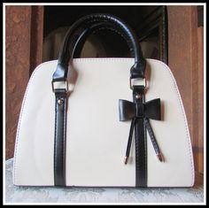 Off-White/Black Bow Handbag