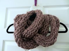 Handmade Knit Mauve Chunky Infinity Scarf by MistyMountainYarns on Etsy
