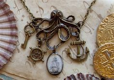The Kraken In Brass  Octopus Necklace  door TheLysineContingency, $21.50 WANT!