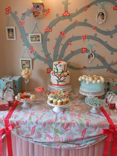 DYI- Dessert table background - Cutout tree with hanging vintage pictures & birdie houses!