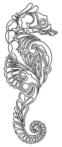 would be beautiful done with a teal/blue variegated thread. Salt Water - Seahorse design (UTH6662) from UrbanThreads.com