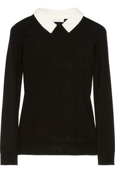 Milly leather-collared fine-knit sweater