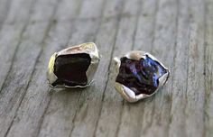 Raw Garnet earrings Ox blood Burgundy earrings January BirthStone Sterling silver studs