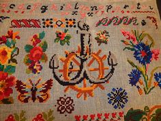 Victorian Antique 1898 Berlin Wool Work Embroidery Needlepoint Sampler It is signed with the initials CD and the date 1898.