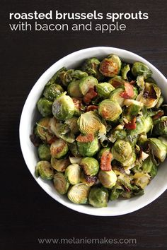 Tender roasted Brussels sprouts, crispy bacon and sweet apple come together to create a simple, yet satisfying, holiday – or anytime! – side dish.
