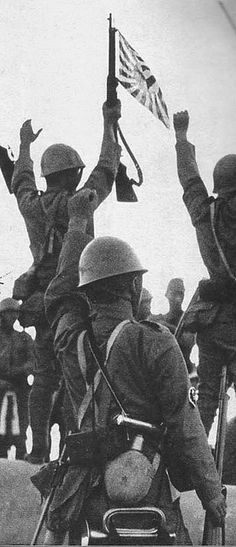 Japanese Soldier sign of jubilation for victory in battle