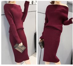 Style: Casual Office ,Work Party Sweater 2 Piece Women Stylish OutfitSleeve Length(cm): FullPattern Type: SolidCollar: O-NeckPant Length(cm): Knee LengthDress