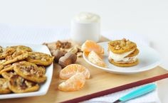 These carrot cake blinis had not started life in my head as carrot cake blinis. Breakfast Options, Breakfast Dessert, Dessert For Dinner, Vegan Breakfast, Vegan Sweets, Vegan Desserts, Vegan Food, Healthy Food, Whole Food Recipes