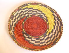 Red Yellow Checkerboard Swirl Woven Tray by MidCenturecycled
