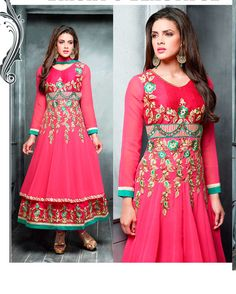 Pink   Lovely Embroidered Georgette Salwar Suits for women (Semi Stitched)       Fabric:   Georgette       Work:   Embroidered       Type:   Salwar Suit       Color:   Pink                   Fabric Top   Georgette       Fabric Bottom   Santoon