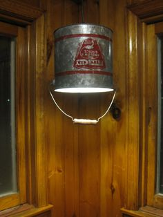 Too funny...I had this same idea for the booth-tables in the dining room of our lake cabin. Upcycled Rustic Minnow Bucket Light by HarmonyRoadFarm on Etsy, $75.00
