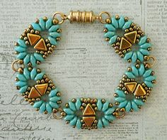 Linda's Crafty Inspirations: Bracelet of the Day: Duo Kheops - Baby Blue Star Dust & Gold