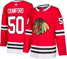 b87cb5ce0c8 adidas Men's Chicago Blackhawks Corey Crawford #50 Authentic Pro Home Jersey.  Chicago BlackhawksBlackhawks JerseysNhl ...