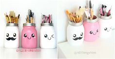 """Cute Mason Jar Brush Holder With a little bit of creativity and DIY works, those empty mason jars can become very cute brush holders. All you need to do is to paint the glass jar, and then decorate. Crafts With Glass Jars, Jar Crafts, Mason Jar Gifts, Mason Jar Diy, Message Jar, Nim C, Pots, Paint Brush Holders, Diy Letters"