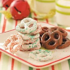 I use this recipe every year for all holidays and everyone raves how yummy they are ~ Chocolate-Coated Pretzels... can change color by purchasing other color coating!