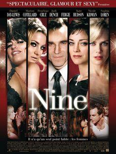 NINE (2009) - Daniel Day-Lewis - Marion Cotillard - Penleope Cruz - Judi Dench - Fergie - Kate Hudson - Nicole Kidman - Sophia Loren - Directed by Rob Marshall - Weinstein Co. - Movie Poster.