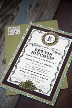 """invitations- LOVE this one! Maybe not the """"getting hitched"""" wordage, but the rest of the entire thing is awesome! you could leave the colors, and maybe do camo paper in place of the green floral backing... what do you think?!"""