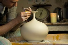 Hand thrown Round Bellied Vase with Flared Top by Matt Horne Pottery, April 2016. Check out my latest video demonstrating how I throw a round bellied bottle ...