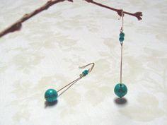 Turquoise Dangle Earrings, Long Earrings, Wire Hammered Earrings, Sterling Silver, Modern Earrings, Long Turquoise Earrings, Stone Earrings