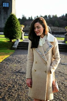 a basic coat can get some flash with a border of fabulous rhinestones {via classy girls wear pearls} Preppy Style, My Style, Cute Coats, Embroidery On Clothes, Classy Girl, Flapper Style, It Goes On, How To Look Classy, School Fashion