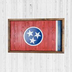 Vintage Flowers Wallpaper, Flower Wallpaper, Tennessee Flag, Essential Oil Shelf, Flag Signs, Wood Flag, Dark Walnut Stain, Crystal Shelves, Wall Decor