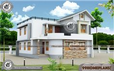 Home Design with Double Story Homes & Modern House Plans Simple House Exterior Design, House Front Design, Modern House Design, Indian Home Design, 3d Home Design, Home Design Plans, Low Cost House Plans, Free House Plans, House Plans With Pictures