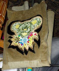 "Corduroy Grateful Dead Jerry Bear Plus Size Oversize Jacket OoAK zippered comfy ""Working Artists Team"" by ReniesCraziBrain on Etsy"