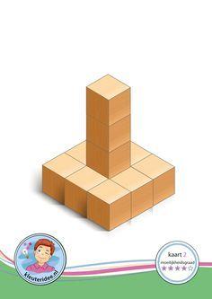 Bouwkaart 2 moeilijkheidsgraad 4 voor kleuters, kleuteridee, Preschool card building blocks with toddlers 2, difficulty 4, free printable.
