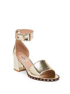 Valentino - Soul Rockstud Metallic Leather Ankle-Strap Sandals
