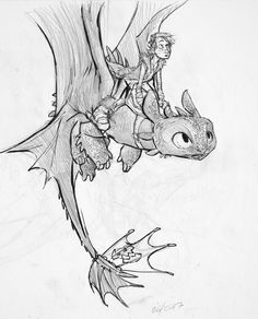 Toothless and Hiccup.