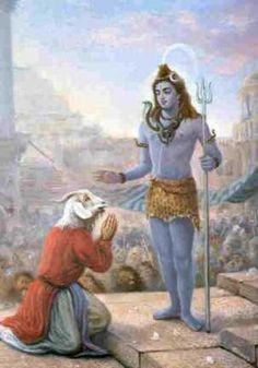 Daksa Prajapathi was given a GOAT_HEAD after Devas , Brahma, Narayana had pacified Shiva. Lord Shiva forgives DAKSA and Daksa was asked to continue the Yajnam.