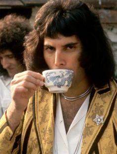 Freddie enjoying a cup of tea in Japan – 1975