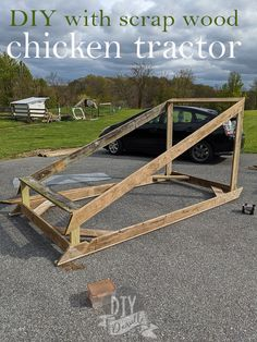 I used a bunch of scrap wood to build this chicken tractor. It works great and it has a wire apron around the perimeter to keep fox from digging under. These are great mobile chicken runs that are an alternative to the more traditional chicken coops. You use less bedding and the chickens eat bugs and fertilize your grass as you move them around.  #chickens #homesteading #diy Chicken Eating, Chicken Runs, Chicken Tractors, Chicken Coops, Keeping Chickens, Raising Chickens, Raising Farm Animals, Factory Farming, Meat Chickens